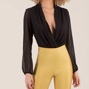 Tops - Black Chiffon Surplice Bodysuit